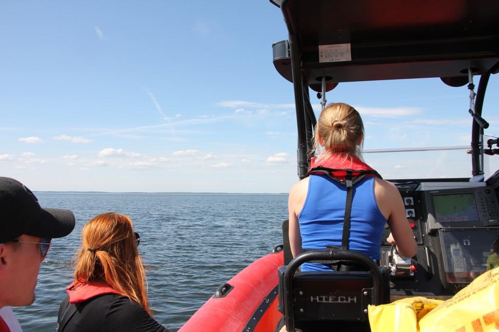 Elisa veneen ohjaksissa.
